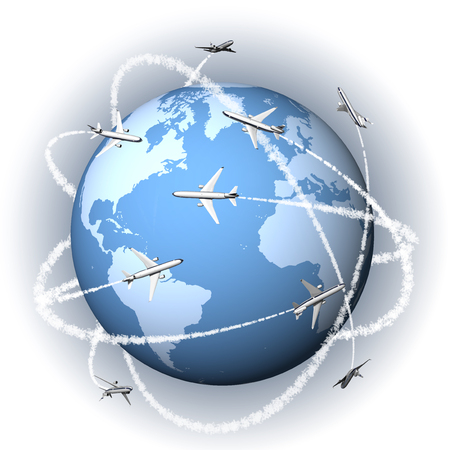 mondo: Aeroplani viaggiano intorno al mondo per raggiungere ogni destinazione.
