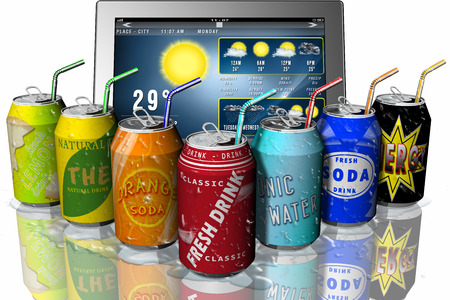 displays: Weather application displays: Summer. For the thirst: Fresh drinks.