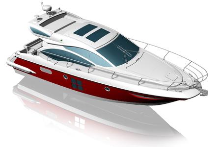 successo: Yacht. Imbarcazione elegante isolata su sfondo bianco.