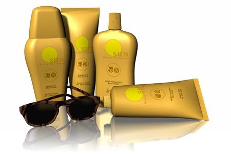 sole: vacanze in spiaggia al sole, simboleggiate da creme solari e occhiali da sole