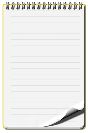 nota: Notepad lined sheets open and empty with possibilit�? to write text.