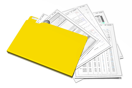 Office, document filing and organization with computer. Yellow card with various documents.