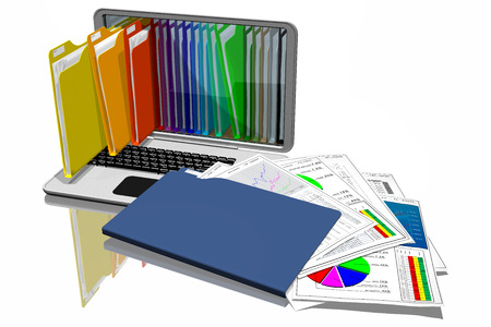 Computers with colored folders for document storage. Database. Stock Photo