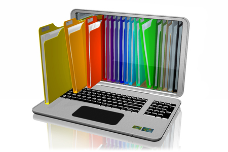 Computers with colored folders for document storage. Database. Imagens