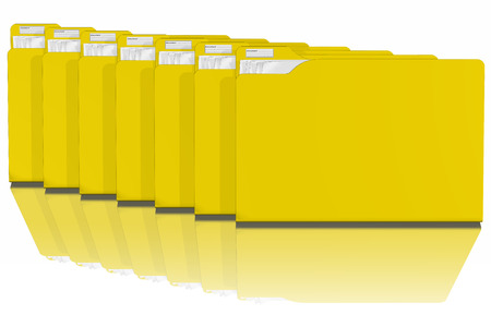Office, document archiving, and organization with computers.Series of yellow folders with various documents. Stock Photo