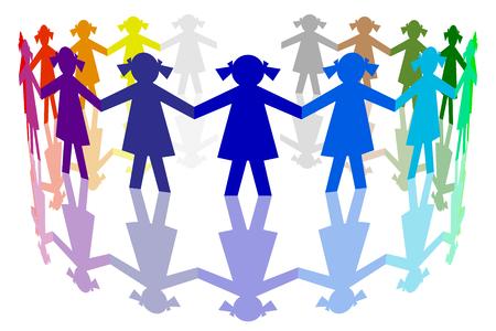 mondo: Figure di carta. Girotondo di bambine di tanti colori.