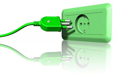 colore: Spina e presa elettrica di colore verde. Ecologia e risparmio energetico.