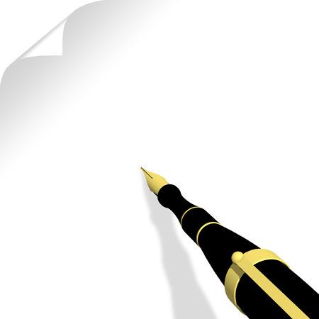 comunicación escrita: Penna stilografica Do foglio bianco con spazio por testo