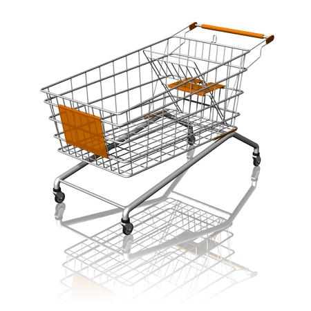 merce: Carrello spesa supermercato isolato su sfondo bianco.
