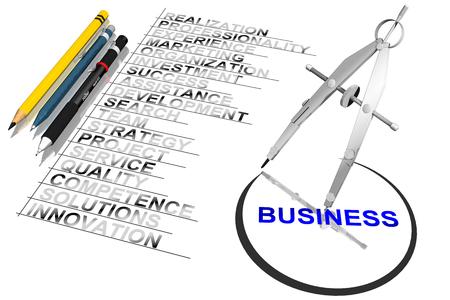successo: Elenco qualita impresa. Compasso traccia cerchio attorno a Business. Stock Photo