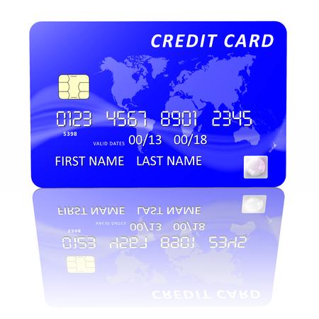 blu: Carta di credito blu isolata su sfondo bianco Stock Photo