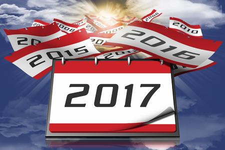 anno: Passaggio degli anni. Calendario con nuovo anno. 2017 con sfondo cielo e sole.