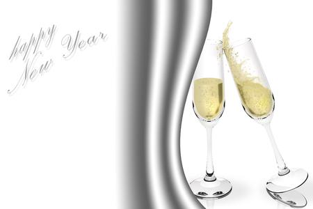 anno: Buon Anno. Brindisi con spumante per festeggiare il nuovo anno. Spazio per testo. Stock Photo