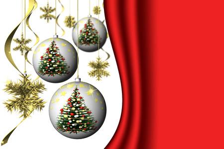 allegro: Natale. Decorazione natalizia con spazio per testo. Sfondo bianco e rosso.
