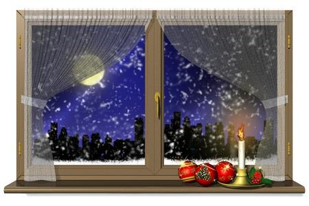 allegro: Finestra con decorazione natalizia. Paesaggio invernale di sera.