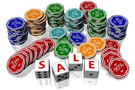 successo: Gettoni da gioco e dadi da gioco con scritta Saldi. Stock Photo