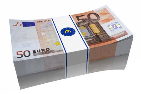 Pila di banconote da 50 ? su sfondo bianco