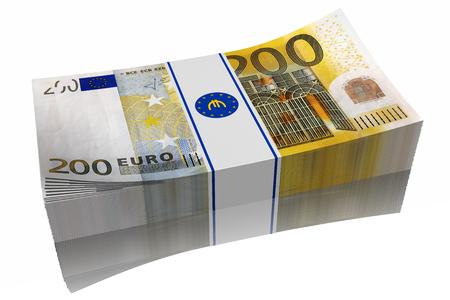 successo: Pila di banconote da 200 euro su sfondo bianco Stock Photo