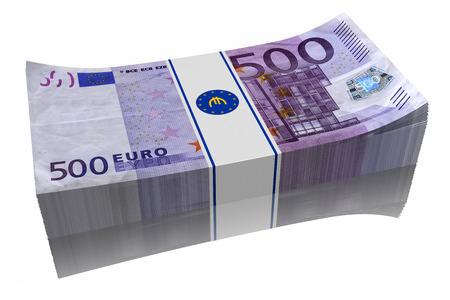 Pila di banconote da 500 ? su sfondo bianco