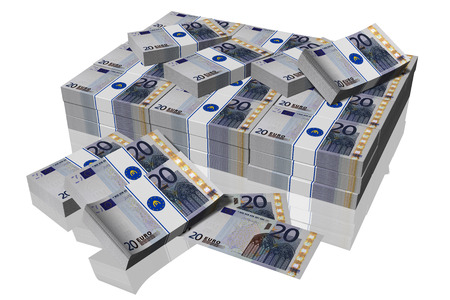 Stack of 20 euro banknotes on a white background