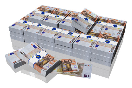 Stack of 50 euro banknotes on a white background