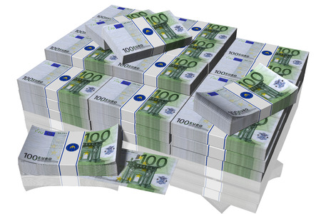 pila: Pila di banconote da 100 euro su sfondo bianco Stock Photo