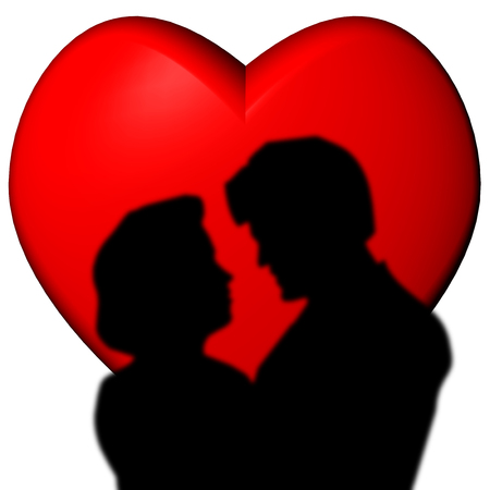 Couple in love with red heart background. Stock Photo