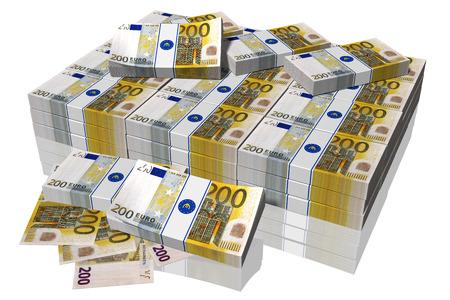 pila: Pila di banconote da 200 euro su sfondo bianco Stock Photo