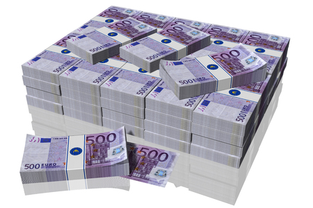 Stack of 500 euro banknotes on a white background