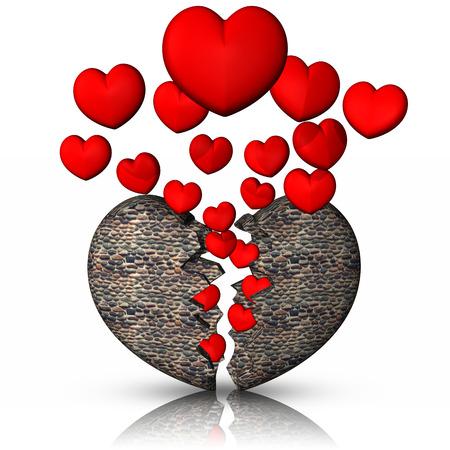 Stone heart broken heart Reklamní fotografie