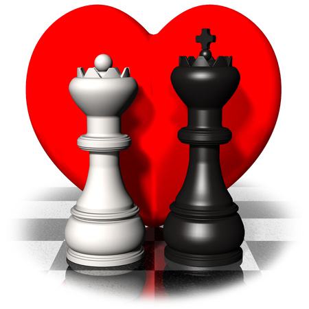 Valentine's day. King and Queen in love with background hearts.