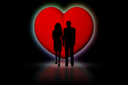 Couple in love with red heart background. Reklamní fotografie
