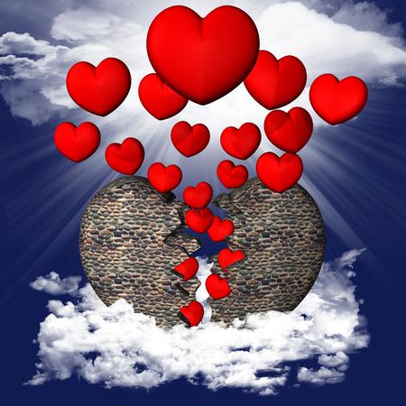 Stone heart broken by hearts in the sky Reklamní fotografie