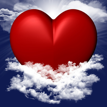 Red heart with sky background clouds and light Reklamní fotografie