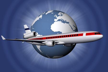背景の可能な目的地と世界と飛行機