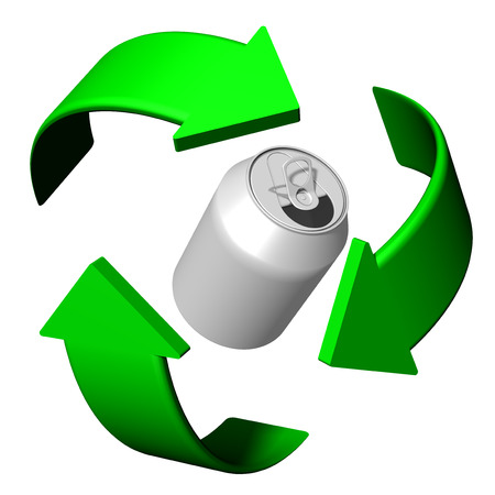 Cans and metal Recycling symbol A clean and eco-friendly world Stock Photo