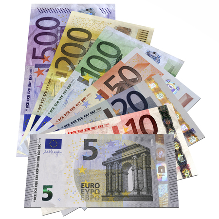 successo: Banconote euro isolate su sfondo bianco