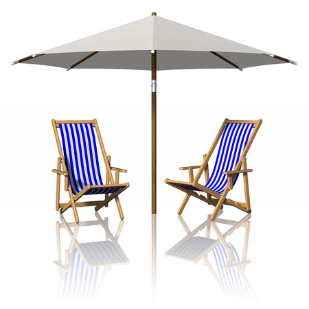 Summer vacation. Sun loungers and umbrellas. Stock Photo