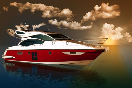 successo: Yacht in mezzo al mare con sullo sfondo cielo, nuvole e sole al tramonto.