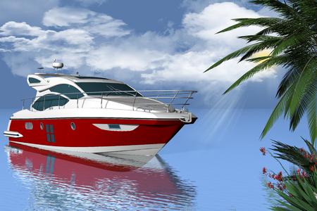 successo: Yacht in mezzo al mare con sullo sfondo cielo, nuvole e sole.