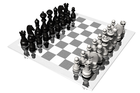 Chess. Chessboard with white and black pieces. Stock fotó