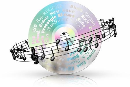 pentagramma musicale: CD musicale con pentagramma nero Archivio Fotografico