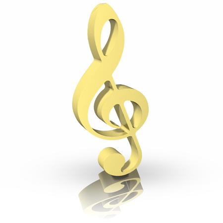 pentagramma musicale: Tasto di violino isolato su sfondo bianco. d'oro Archivio Fotografico