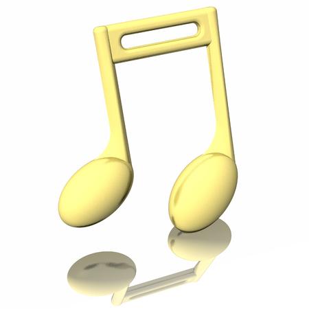 pentagramma musicale: Nota musicale dorata, isolato su sfondo bianco.