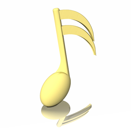 pentagramma musicale: Golden musical note, isolated on white background.