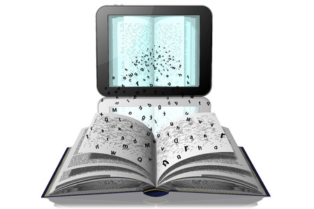 Letters break away from book pages to go to the tablet, e-book
