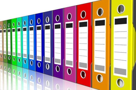 Collection of folders of various colors for the classification of documents. Database. Banco de Imagens