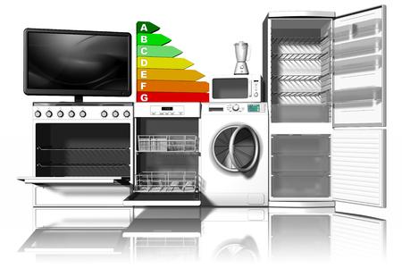 Home appliances. Stoves, dishwasher, washing machine, refrigerator, side by side, symbolizing energy saving.