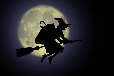 Epiphany, Befana with broom in the night.