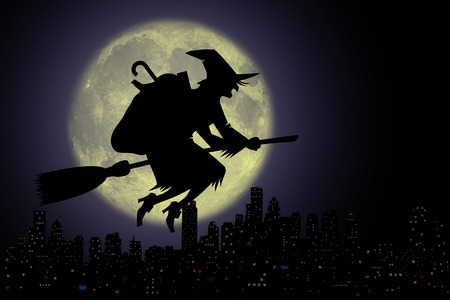 Epiphany, Befana with broom in the night. 스톡 콘텐츠